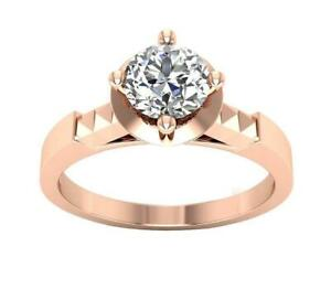 I1 G 0.85Ct Natural Round Diamond Solitaire Ring 14K Solid Gold Prong Set 7.45MM