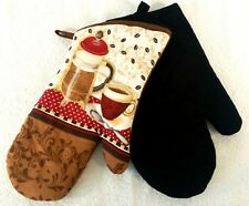 Set of 2 Quilted Oven Mitts Potholders Brown Coffee Press and Black