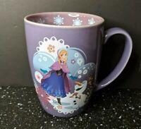 Disney Frozen Princess Anna And Olaf Purple Coffee Mug Cup New Tall