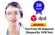 PACK OF 20  FACE VISORS SAFETY FACE SHIELDS PROTECTION MASK WITH ELASTIC BAND
