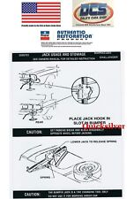 1972 73 74 Dodge Challenger Jacking Instructions Trunk Lid Decal 3595701 NEW USA