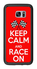 Keep calm and Race On For Samsung Galaxy S7 Edge G935 Case Cover by Atomic Marke