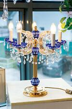 Kristall Tischlampe Tischleuchte Maria Theresia 5 Brennstellen MESSING GOLD blau