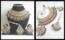 New Indian Bollywood Costume Jewellery Choker Stone Pearl Gold Red Green Bridal