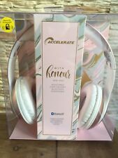NEW ACCELERATE HD WIRELESS BLUETOOTH Over Ear Dust Pink HEADPHONES SET