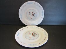 """Arcopal France~ROOSTER~Luncheon~Salad Plates -71/4""""~White Milk Glass~Red Hearts"""