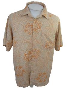 Izod Men Hawaiian camp shirt L pit to pit 23 aloha luau tropical foliage mandala