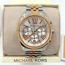 Michael Kors Lexington Damen Armbanduhr Quarz Silber Gold Chronograph MK5735