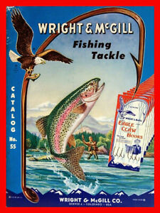 Vintage Eagle Claw hooks advertisement reproduction steel sign trout fishing
