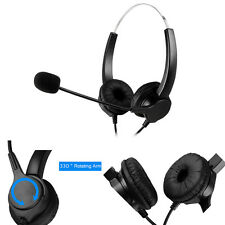 Hands-free Call Center Noise Cancelling Corded Binaural Telephone Headphone New
