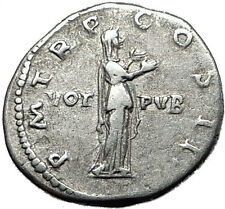 Hadrian 134AD Silver  Rare  Ancient Roman Coin Pietas Loyalty Religiosity i58494