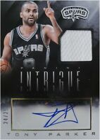 Tony Parker 2013-14 Panini Intrigue Signed Auto Jersey Card 24/25 Spurs