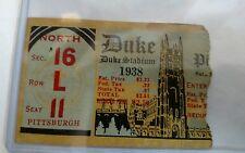 1938 DUKE BLUE DEVILS Vs PITTSBURGH PANTHERS PITT Football Ticket Stub  Rare