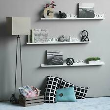 "Picture Ledge 46"" Wall Floating Shelf White Ribba Book Holder Spice Rack"
