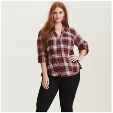 Torrid top size 2X womens plus twill plaid popover red v-neck blouse roll sleeve