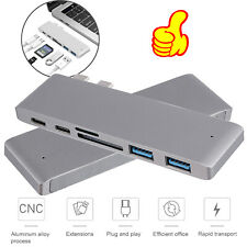 6in1 USB Type C Hub Adapter with HDMI Multiport Card Reader Dual USB3.0 SD TF