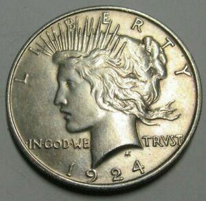 USA Silver 1924 Peace Dollar, Grade As Pics.