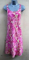 Batik Bali Tank Top Sun Dress Pink Yellow Floral Slip On Flare Skirt - S