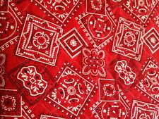 "VINTAGE REDNECK RED & WHITE HANDKERCHIEF QUILTED FABRIC 2.5 Yds X 42""W"