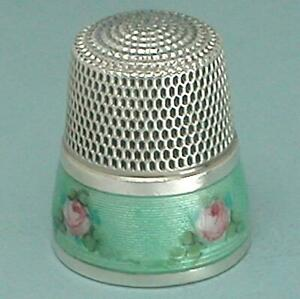 Antique Enameled Band Sterling Silver Thimble * American * Circa 1900s