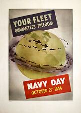 Original Vintage WWII Poster Your Fleet Guarantees Freedom Navy Day 1944