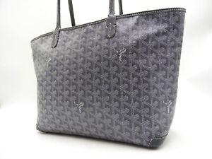 Authentic GOYARD ARTOIS PM Shoulder Tote Bag PVC Canvas Leather Gray V-4551