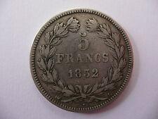 5 FRANCS 1832 L louis Philippe I tête laurée écu argent tranche relief TB+