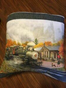 New Handmade Steam Engine Train Quillow (Pillow w/ 6ft long quilt inside!)