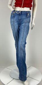 Roberto Cavalli 8 US 44 IT M Blue Cotton Denim Jeans Pants Runway Auth Italy