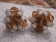 """West Germany 1"""" milk glass pink beaded earrings converted to pierced"""