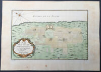 1757 Nicolas Bellin Antique Map, Plan of the City of Buenos Aires, Argentina