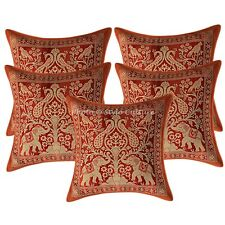 Decorative Pillowcase Brocade Silk Elephant Brown Pillow Cushion 5Pcs Throw 12""