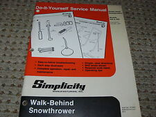 Simplicity Walk-Behind Snowthrowers Do It Yourself Service Manual