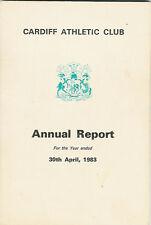 Cardiff Club Atlético Informe Anual de 1983 Rugby Cricket Hockey tazones Tenis