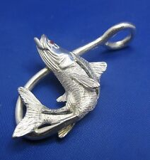 Sterling Silver Nautical Snook Pendant with Fish Hook and Ruby Eye New Low Price