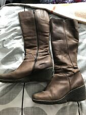 Carvela Leather Knee High Tan Wedge Boots Size 8
