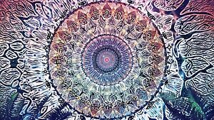 Mandala - Psychedelic Spiritual Pattern Spiral Large Canvas Picture 20x30Inch