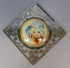 Maud Tousey Fangel vtg baby litho under bubble glass mirrored tile wall hanging