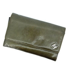 Chanel Wallet Purse Bifold COCO Green Woman Authentic Used L166