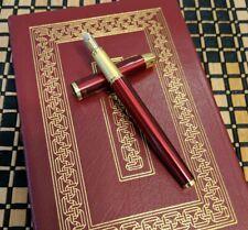 Fountain Pen Custom Flex Nib Blue Black Ink Fine (Ruby Red) w/Spares