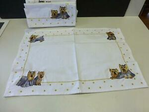 6 Danbury Mint Yorkie Yorkshire Terrier Dog Table Linen Embroidered PlaceMat