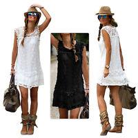 Ladies Boho Crochet Lace Dress Evening Party Casual Mini Summer Beach Petticoat