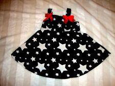 Toddler Girls Jessica Ann Patriotic Blue White Stars Dots Red Bows Dress 18 Mo