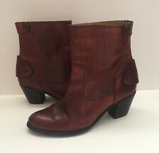 FRYE Melissa Button Back Zip Short Tan Leather Western Ankle Boots Women's Sz 10