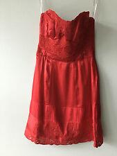 KAREN MILLEN Red Silk Strapless Dress UK 10 / US 6 / EU 38