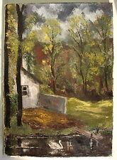 Gemälde Bild Leinwand.Haus am See.Kunst Ölgemälde Landschaft Schwäne 50er 60er