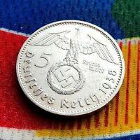German 1938 E  5 Mark WW2  Silver Coin Third Reich Swastika Reichsmark