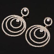Elegant gold tone multi circle multi cubic zirconia dangle earrings