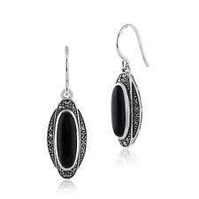Gemondo Art Deco Earrings Sterling Silver 3ct Black Onyx & 0.27ct Marcasite...