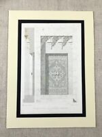 1857 Architectural Print Mihrab of Kous Mosque Cairo Egypt Antique Islamic Art